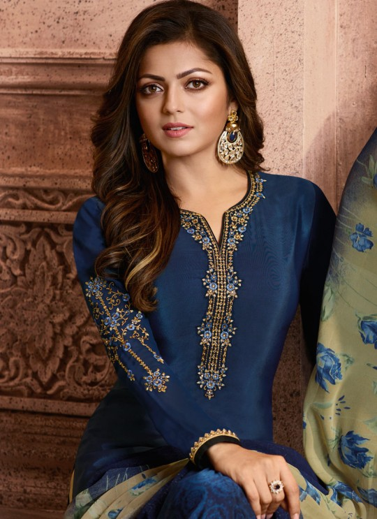 Drashti Dhami Blue Embroidered Festival Wear Straight Suits Nitya Vol 129 2904 Set By LT Fabrics SC/013165