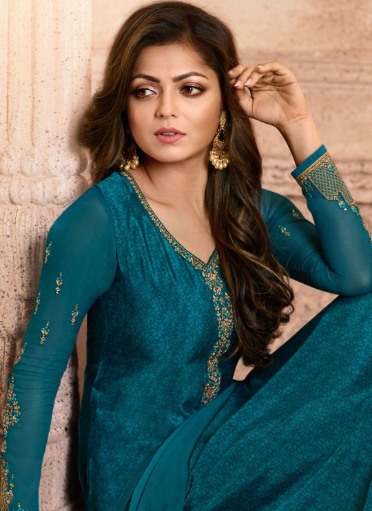 Drashti Dhami Blue Embroidered Festival Wear Straight Suits Nitya Vol 129 2908 Set By LT Fabrics SC/013165