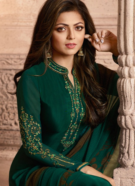 Drashti Dhami Green Embroidered Festival Wear Straight Suits Nitya Vol 129 2906 Set By LT Fabrics SC/013165