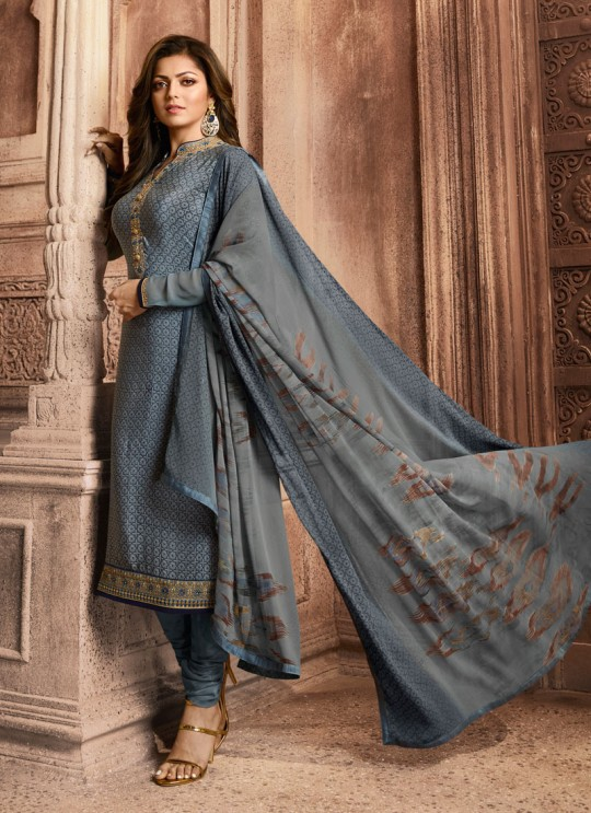 Drashti Dhami Grey Embroidered Festival Wear Straight Suits Nitya Vol 129 2902 Set By LT Fabrics SC/013165