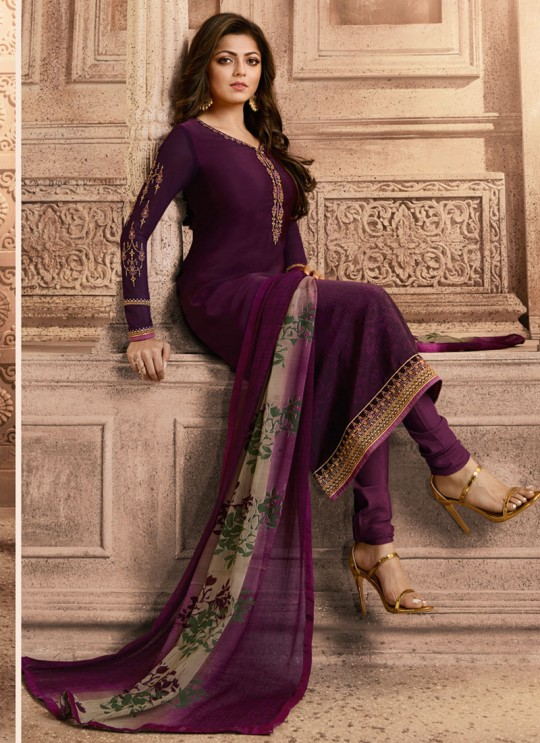 Drashti Dhami Purple Embroidered Festival Wear Straight Suits Nitya Vol 129 2901 Set By LT Fabrics SC/013165