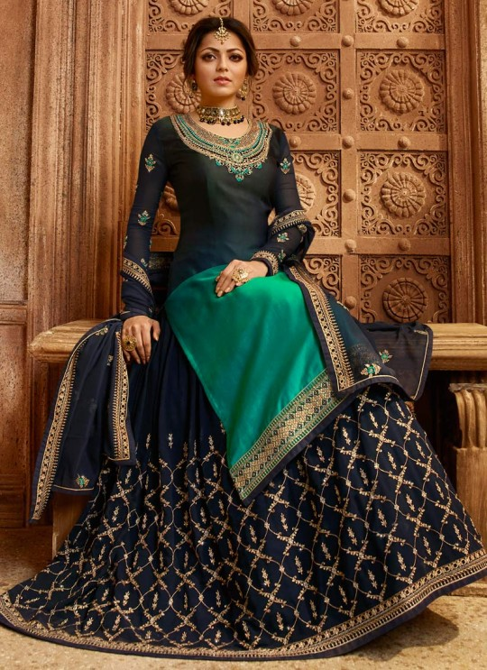 Drashti Dhami Blue Embroidered Wedding Wear Skirt Kameez Nitya Vol 130 3002 By LT Fabrics SC/013510