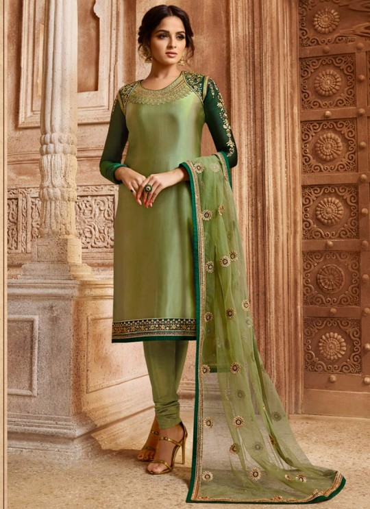 Drashti Dhami Green Embroidered Wedding Wear Skirt Kameez Nitya Vol 130 3001 By LT Fabrics SC/013509
