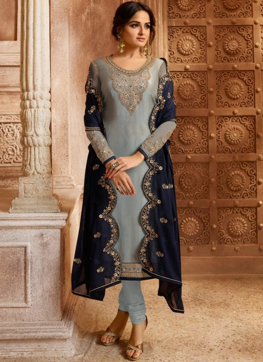 Drashti Dhami Grey Embroidered Wedding Wear Skirt Kameez Nitya Vol 130 3009 By LT Fabrics SC/013517
