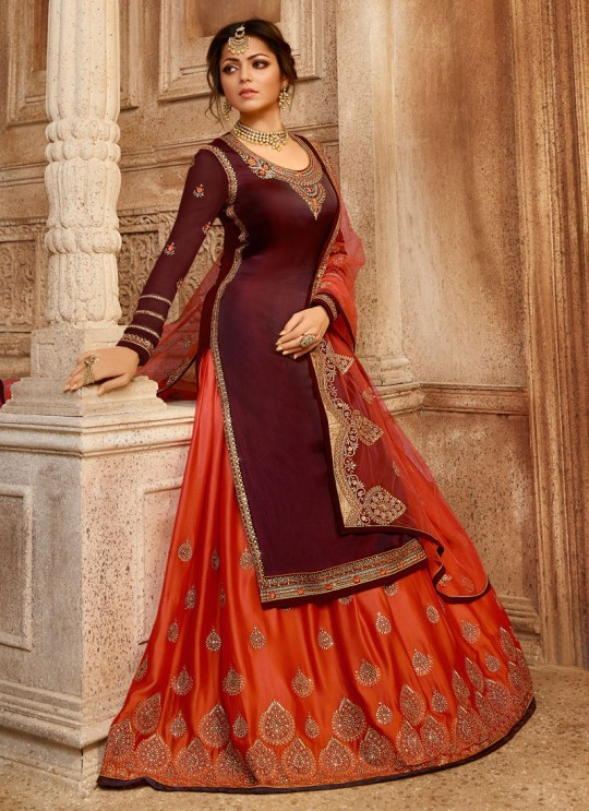 Drashti Dhami Maroon Embroidered Wedding Wear Skirt Kameez Nitya Vol 130 3008 By LT Fabrics SC/013516