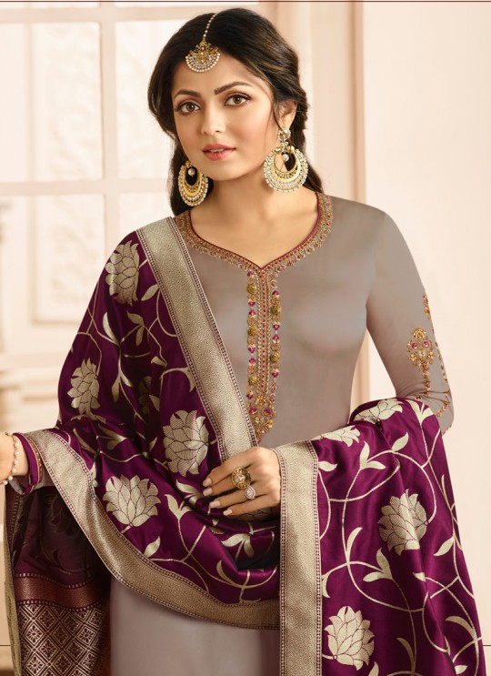 Drashti Dhami Beige Embroidered Wedding Wear Churidar Suits Nitya Vol 131 3109 Set By LT Fabrics SC/013575