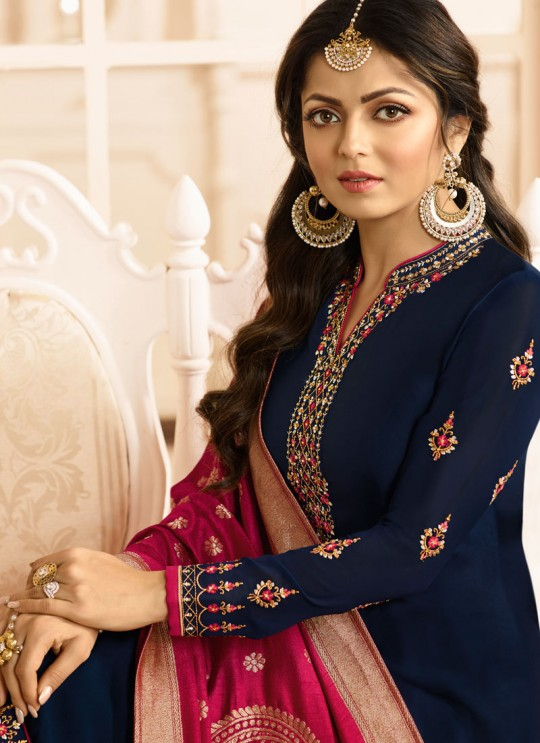 Drashti Dhami Blue Embroidered Wedding Wear Churidar Suits Nitya Vol 131 3101 By LT Fabrics SC/013566