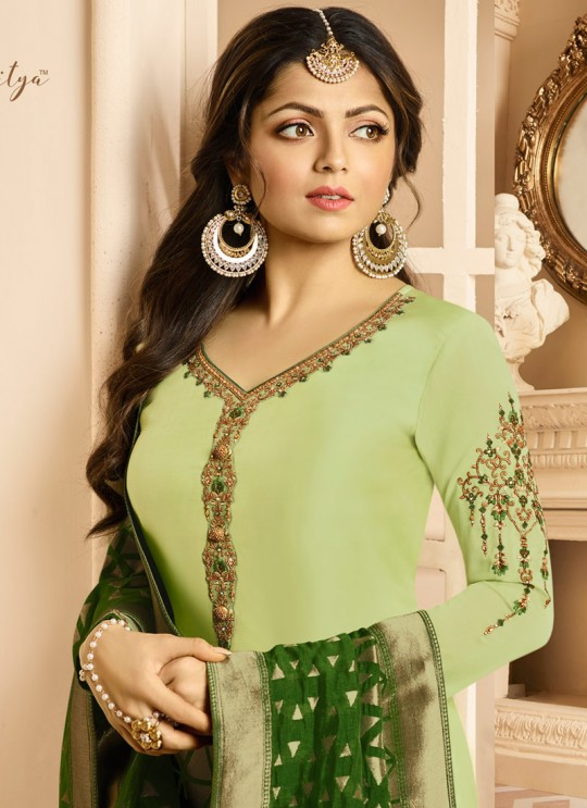 Drashti Dhami Green Embroidered Wedding Wear Churidar Suits Nitya Vol 131 3107 By LT Fabrics  SC/013572