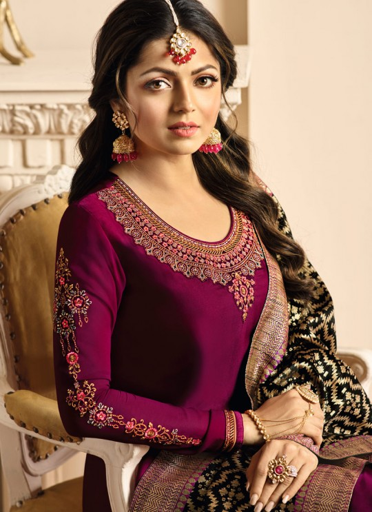Drashti Dhami Magenta Embroidered Wedding Wear Churidar Suits Nitya Vol 131 3408 Set By LT Fabrics SC/013575