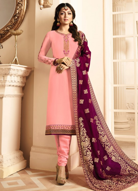 Drashti Dhami Pink Embroidered Wedding Wear Churidar Suits Nitya Vol 131 3106 Set By LT Fabrics SC/013575