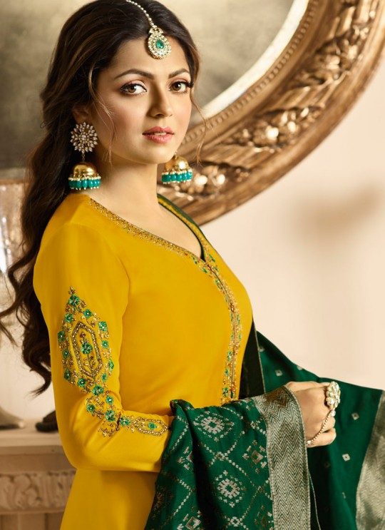 Drashti Dhami Yellow Embroidered Wedding Wear Churidar Suits Nitya Vol 131 3105 Set By LT Fabrics SC/013575