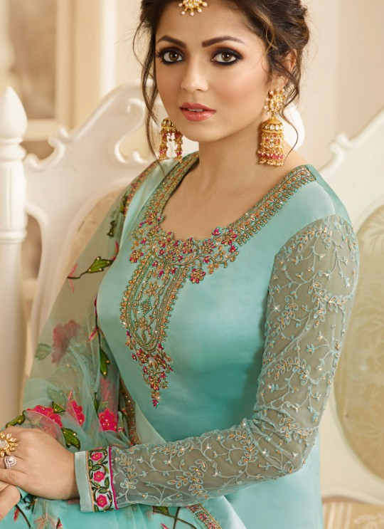 Satin Georgette Embroidered Party Wear Churidar Suits In Color Nitya Vol 132 3201 By LT Fabrics SC/013954