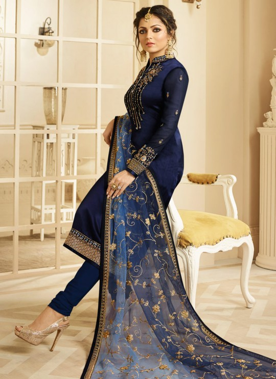 Satin Georgette Embroidered Designer Churidar Suits In Color Nitya Vol 132 3202 By LT Fabrics SC/013955