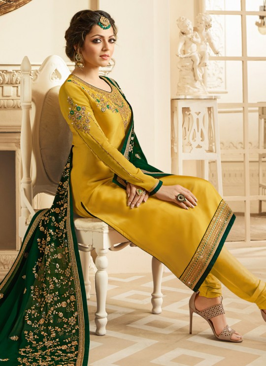 Satin Georgette Embroidered Festival Wear Churidar Suits In Color Nitya Vol 132 3204 By LT Fabrics SC/013957