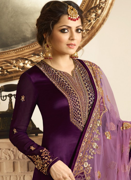 Satin Georgette Embroidered Ethnic Wear Churidar Suits In Color Nitya Vol 132 3206 By LT Fabrics SC/013959