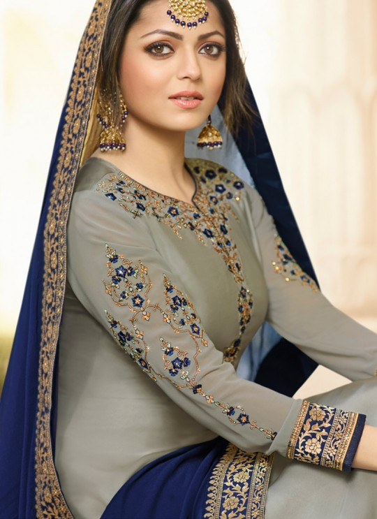 Satin Georgette Embroidered Ceremony Skirt Kameez In Grey Color Nitya Vol 133 3301 By LT Fabrics SC/015454
