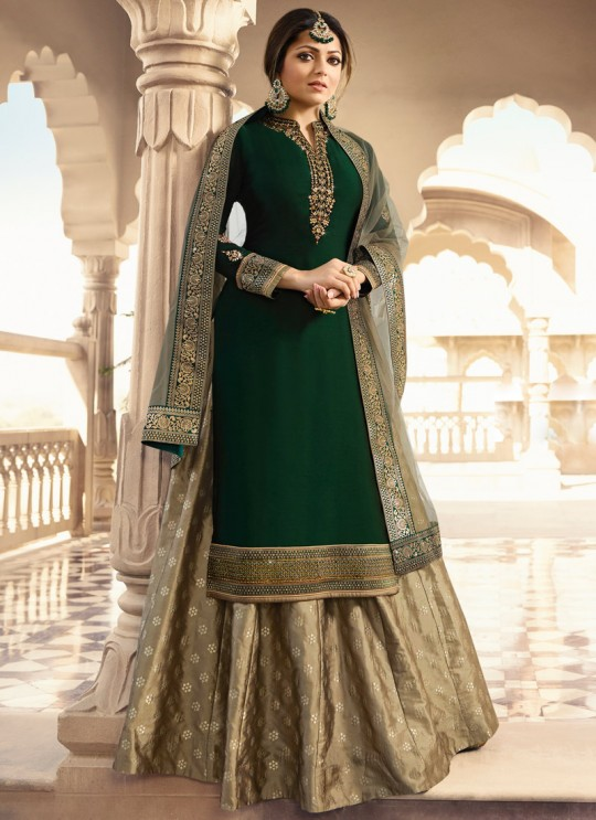 Green Satin Georgette Designer Skirt Kameez With Chiffon Dupatta Nitya Vol 133 3302 Set By LT Fabrics SC/014144