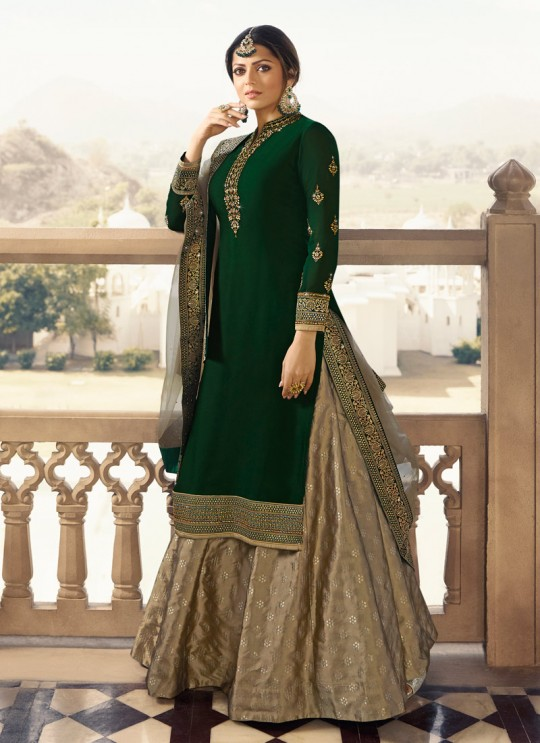 Satin Georgette Embroidered Ceremony Skirt Kameez In Green Color Nitya Vol 133 3302 By LT Fabrics SC/015455