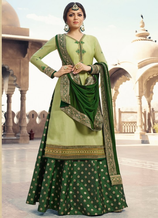Satin Georgette Embroidered Ceremony Skirt Kameez In Green Color Nitya Vol 133 3304 By LT Fabrics SC/015457