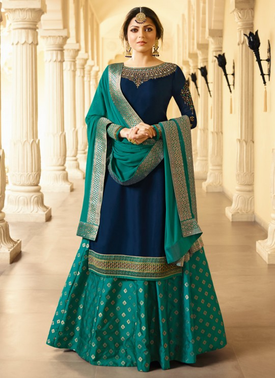 Blue Satin Georgette Designer Skirt Kameez With Chiffon Dupatta Nitya Vol 133 3305 Set By LT Fabrics SC/014144