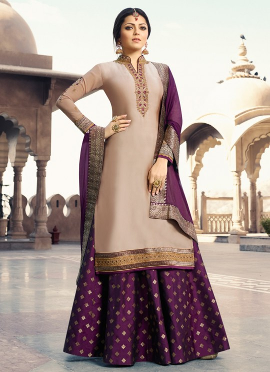 Beige Satin Georgette Designer Skirt Kameez With Chiffon Dupatta Nitya Vol 133 3306 Set By LT Fabrics SC/014144