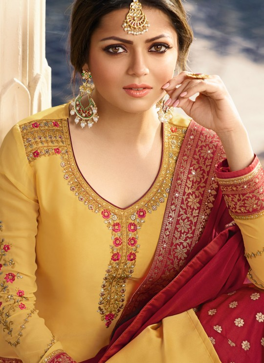 Yellow Satin Georgette Designer Skirt Kameez With Chiffon Dupatta Nitya Vol 133 3307 Set By LT Fabrics SC/014144