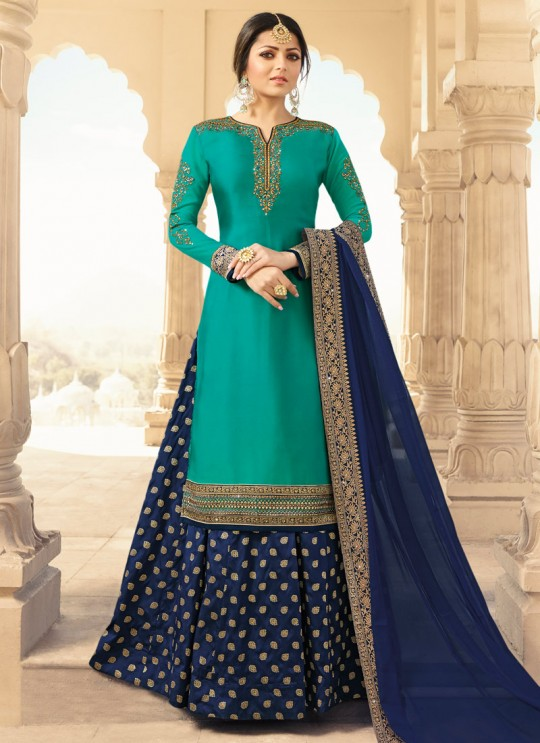 Satin Georgette Embroidered Ceremony Skirt Kameez In Teal Green Color Nitya Vol 133 3308 By LT Fabrics SC/015460