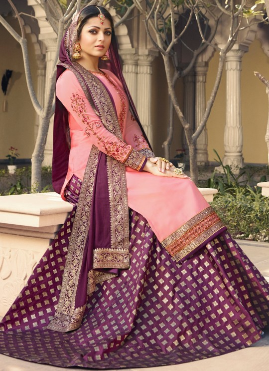 Pink Satin Georgette Designer Skirt Kameez With Chiffon Dupatta Nitya Vol 133 3309 Set By LT Fabrics SC/014144