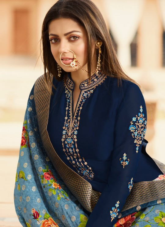 Navy Blue Satin Georgette Embroidered Bridesmaids Churidar Suits With Dola Jacquard Dupatta Nitya Vol 134 3401 By LT Fabrics SC/015173