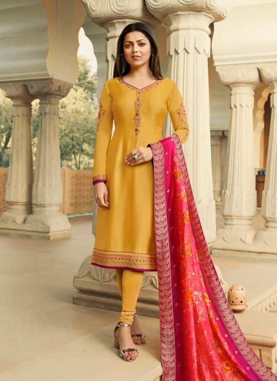 Yellow Satin Georgette Embroidered Party Wear Churidar Suits With Dola Jacquard Dupatta Nitya Vol 134 3402 By LT Fabrics SC/015173