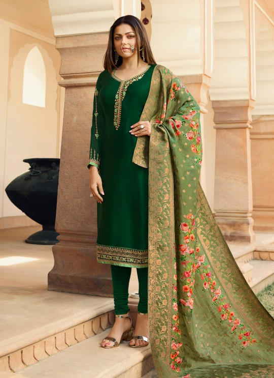 Green Satin Georgette Embroidered Contemporary Churidar Suits With Dola Jacquard Dupatta Nitya Vol 134 3404 By LT Fabrics SC/015173