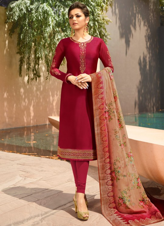 Wine Satin Georgette Embroidered Festival Wear Churidar Suits With Dola Jacquard Dupatta Nitya Vol 134 3405 By LT Fabrics SC/015173