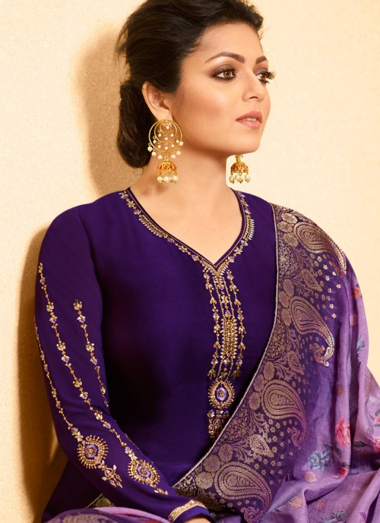 Violet Satin Georgette Embroidered Ceremony Churidar Suits With Dola Jacquard Dupatta Nitya Vol 134 3406 By LT Fabrics SC/015173