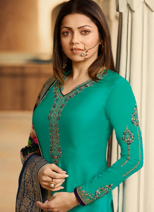 Sea Green Satin Georgette Embroidered Indian Party Wear Churidar Suits With Dola Jacquard Dupatta Nitya Vol 134 3407 By LT Fabrics SC/015173