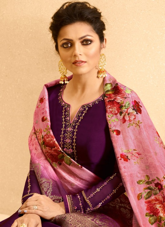 Purple Satin Georgette Embroidered Party Wear Churidar Suits With Dola Jacquard Dupatta Nitya Vol 134 3409 By LT Fabrics SC/015173
