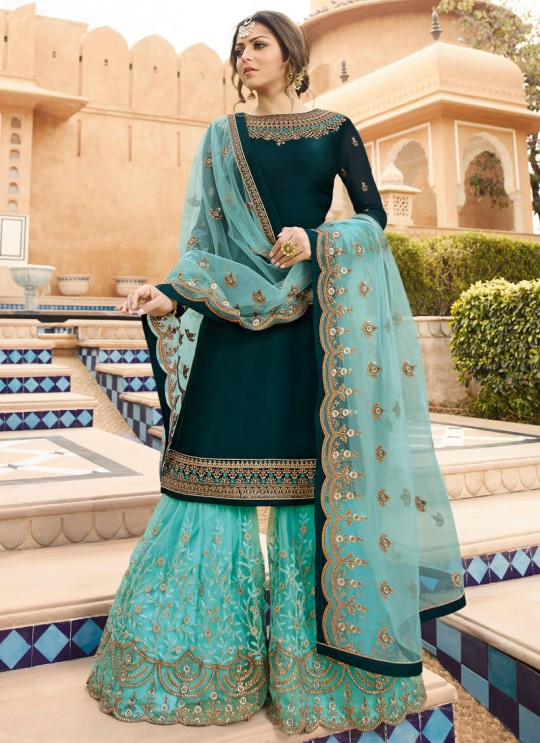Bridesmaids Satin Georgette Embroidered Garara Suits In Green Color Nitya Vol 136 3602 By LT Fabrics SC/015142