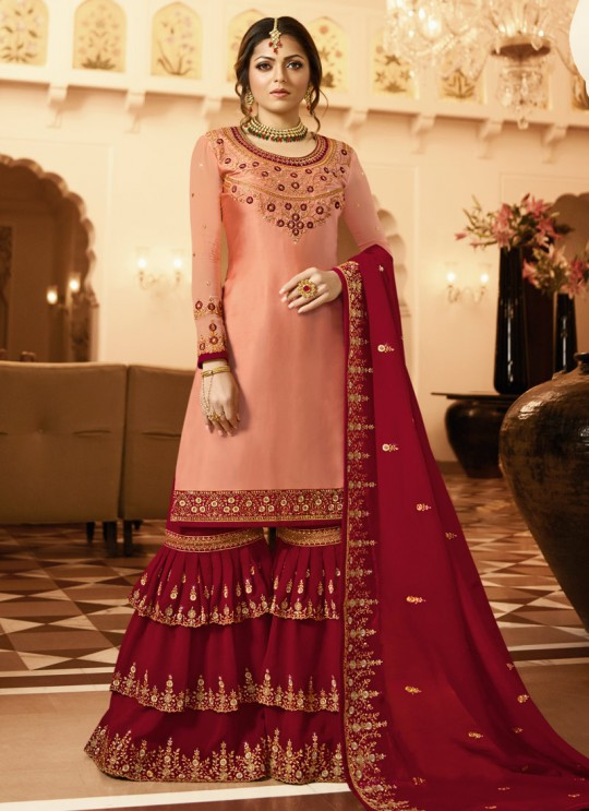 Bridesmaids Satin Georgette Embroidered Garara Suits In Peach Color Nitya Vol 136 3603 By LT Fabrics SC/015143