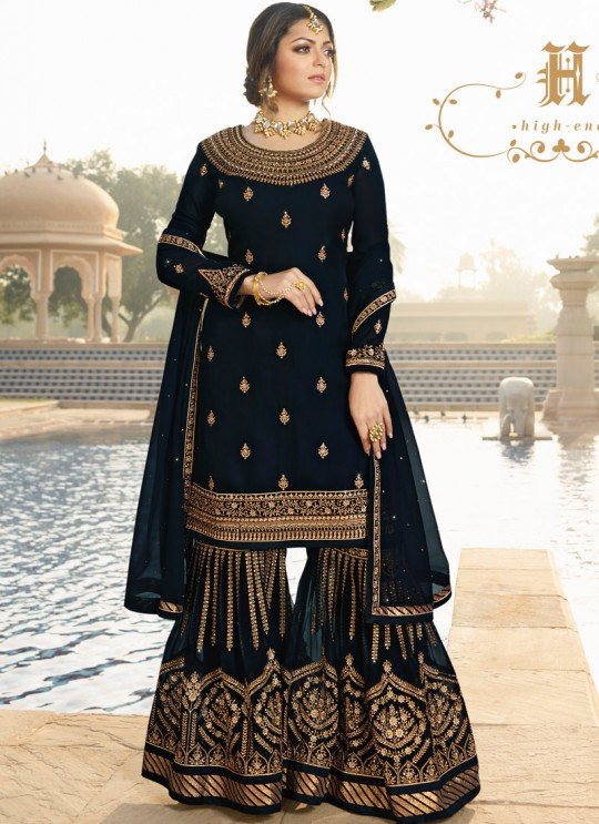 Bridesmaids Georgette Embroidered Garara Suits In Royal Blue Color Nitya Vol 136 3604 By LT Fabrics SC/015144