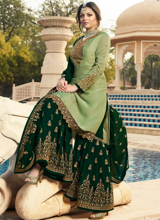 Bridesmaids Satin Georgette Embroidered Garara Suits In Green Color Nitya Vol 136 3605 By LT Fabrics SC/015145