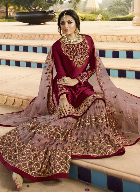 Bridesmaids Satin Georgette Embroidered Garara Suits In Wine Color Nitya Vol 136 3606 By LT Fabrics SC/015146