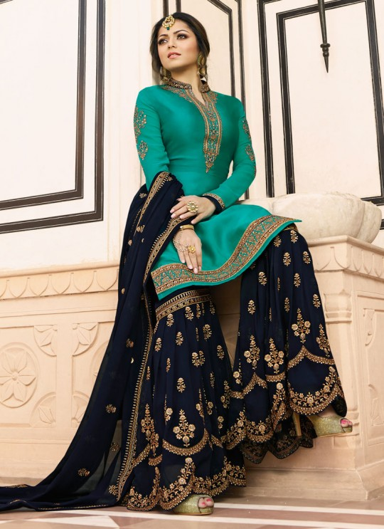 Bridesmaids Satin Georgette Embroidered Garara Suits In Sea Green Color Nitya Vol 136 3609 By LT Fabrics SC/015149