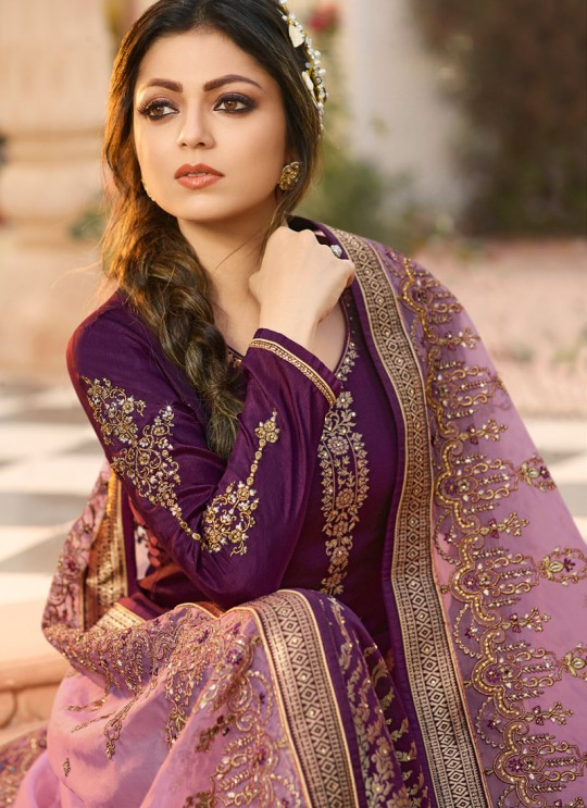 Dola Jacquard Party Wear Straight Cut Suits In Purple Color Nitya Vol 137 3701 By LT Fabrics SC/015272