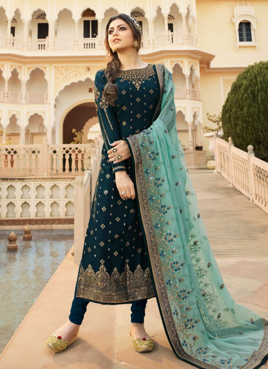 Dola Jacquard Designer Straight Cut Suits In Blue Color Nitya Vol 137 3702 By LT Fabrics SC/015272
