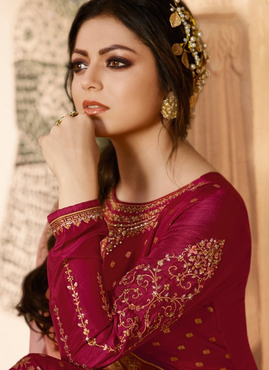Dola Jacquard Ceremony Straight Cut Suits In Maroon Color Nitya Vol 137 3703 By LT Fabrics SC/015272