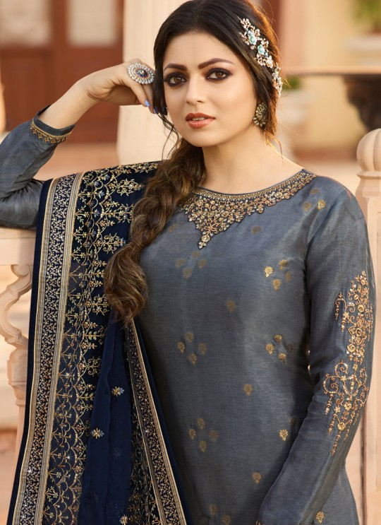 Dola Jacquard Contemporary Straight Cut Suits In Grey Color Nitya Vol 137 3704 By LT Fabrics SC/015272