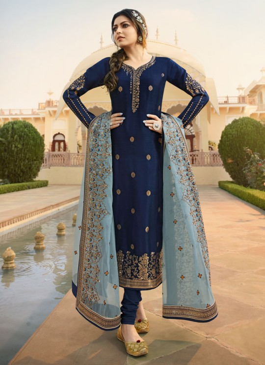Dola Jacquard Traditional Wear Straight Cut Suits In Royal Blue Color Nitya Vol 137 3706 By LT Fabrics SC/015272