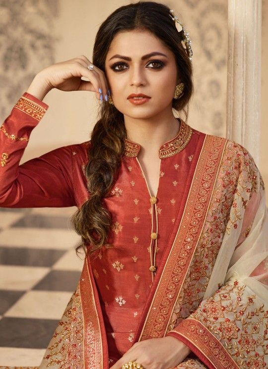 Dola Jacquard Party Wear Straight Cut Suits In Orange Color Nitya Vol 137 3707 By LT Fabrics SC/015272