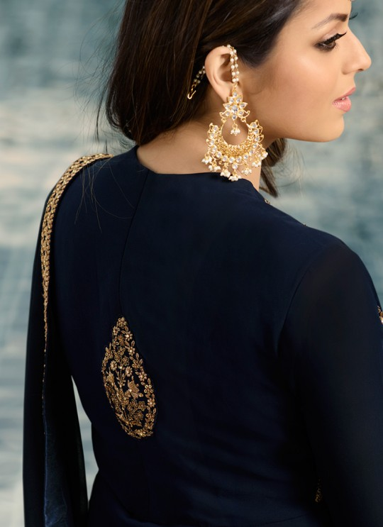 Navy Blue Color Embroidered Skirt Kameez For Ring Ceremony Nitya Vol 138 3801 By LT Fabrics SC/015360