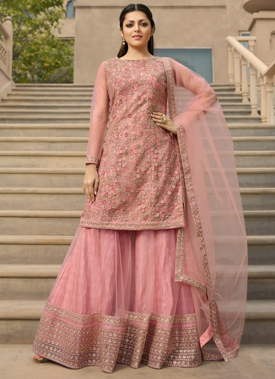 Pink Color Embroidered Palazzo Suit For Ring Ceremony Nitya Vol 138 3802 By LT Fabrics SC/015361