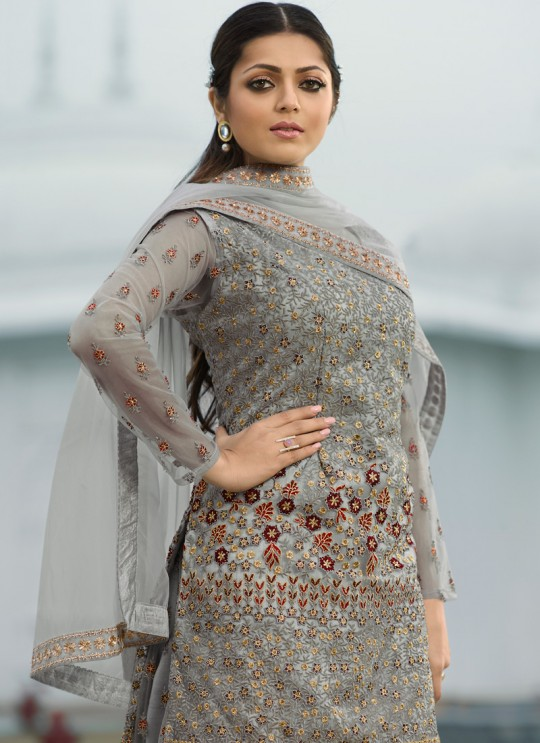 Grey Color Embroidered Palazzo Suit For Ring Ceremony Nitya Vol 138 3804 By LT Fabrics SC/015363